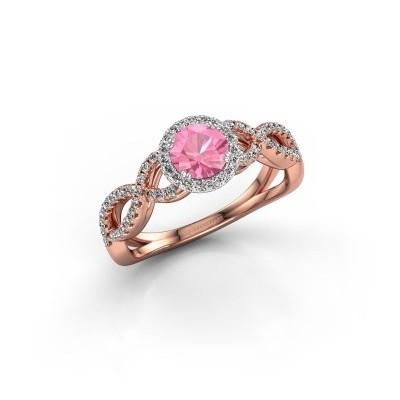 Foto van Verlovingsring Casandra 585 rosé goud roze saffier 5 mm