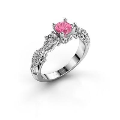 Foto van Verlovingsring Kourtney 950 platina roze saffier 5 mm