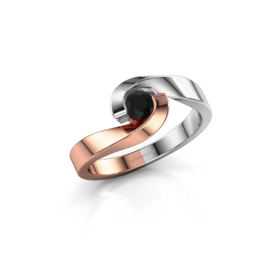 Picture of Engagement ring Sheryl 585 rose gold black diamond 0.24 crt