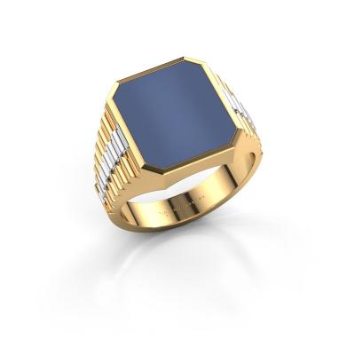 Foto van Zegelring Brent 3 585 goud blauw lagensteen 14x12 mm