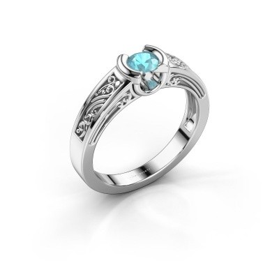 Foto van Ring Elena 950 platina blauw topaas 4 mm