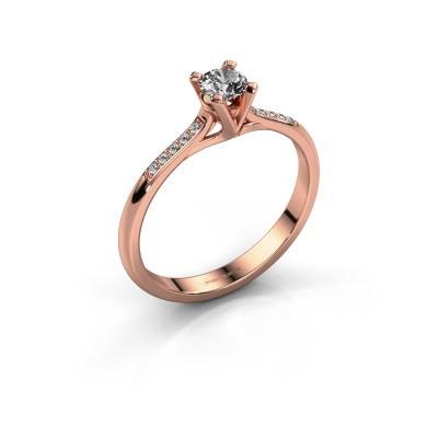 Foto van Aanzoeksring Isa 2 375 rosé goud diamant 0.25 crt