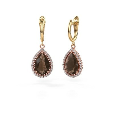 Picture of Drop earrings Tilly per 3 585 rose gold smokey quartz 12x8 mm