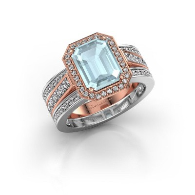 Picture of Ring Dodie 3 585 rose gold aquamarine 9x7 mm