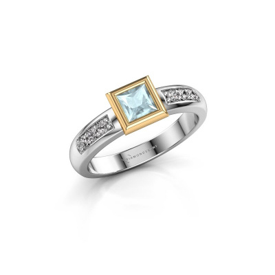 Stacking ring Lieke Square 585 white gold aquamarine 4 mm