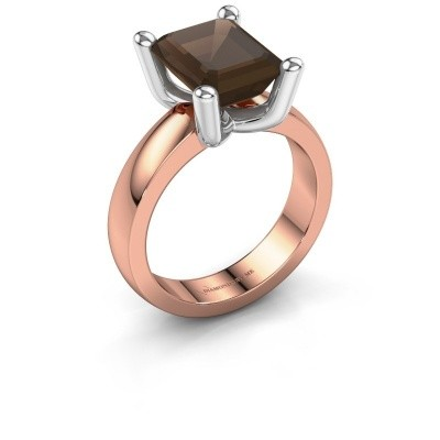 Ring Clelia EME 585 rose gold smokey quartz 10x8 mm
