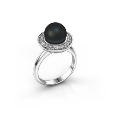 Foto van Ring Sarah 925 zilver zwarte parel 9 mm
