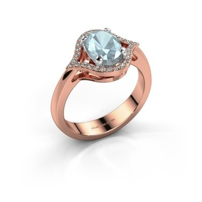 Picture of Ring Mendy 585 rose gold aquamarine 8x6 mm
