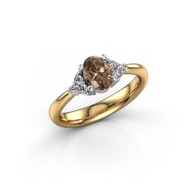 Foto van Verlovingsring Aleida OVL 1 585 goud bruine diamant 0.93 crt