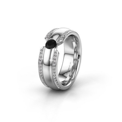 Wedding ring WHR0575L 925 silver black diamond ±7x2 mm