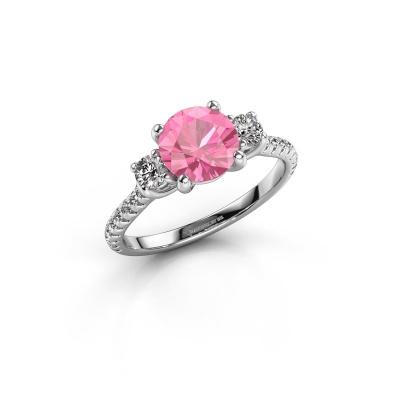Verlobungsring Jesica 925 Silber Pink Saphir 7 mm