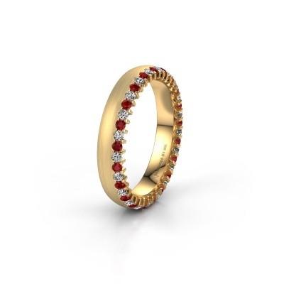 Trouwring WH2138L24B 375 goud robijn ±4x2 mm