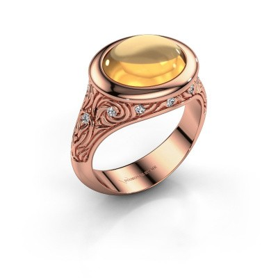 Ring Natacha 375 rosé goud citrien 12x10 mm
