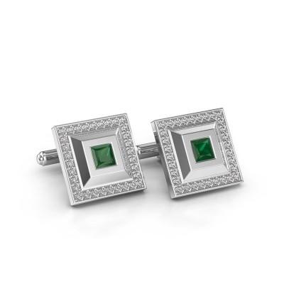 Foto van Manchetknopen Joris 585 witgoud smaragd 4 mm