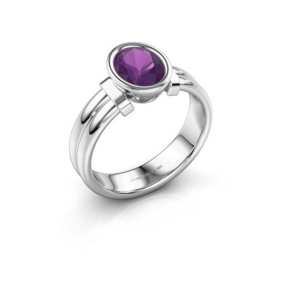 Ring Gerda 925 silver amethyst 8x6 mm