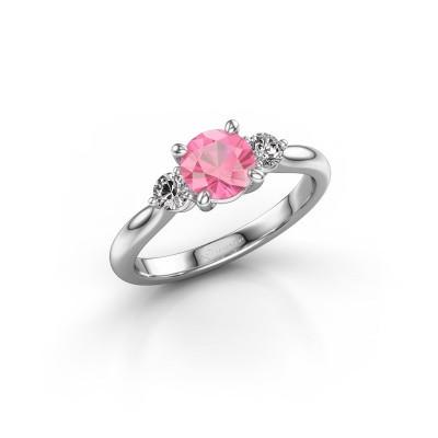 Foto van Verlovingsring Lieselot RND 950 platina roze saffier 6.5 mm