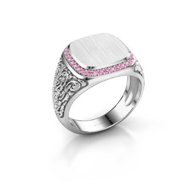 Heren ring Jesse 2 375 witgoud roze saffier 1.2 mm