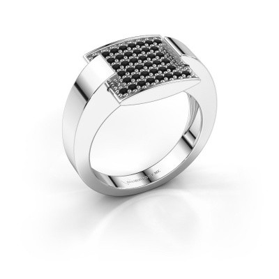 Ring Silke 950 platina zwarte diamant 0.36 crt