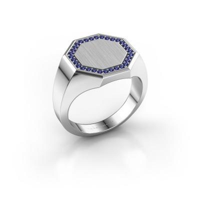 Heren ring Floris Octa 3 925 zilver saffier 1.2 mm