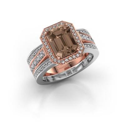 Foto van Ring Dodie 3 585 rosé goud bruine diamant 3.49 crt
