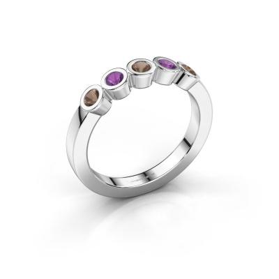 Ring Nova 925 silver smokey quartz 3 mm