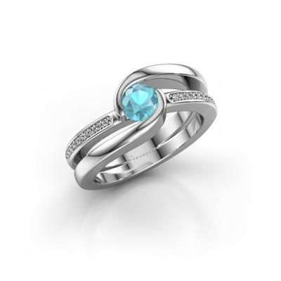 Foto van Ring Xenia 2 950 platina blauw topaas 5 mm