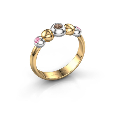 Stackable ring Lily 585 gold brown diamond 0.06 crt