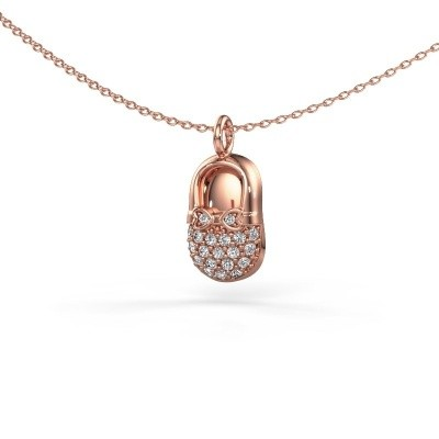 Picture of Pendant Babyshoe 375 rose gold lab-grown diamond 0.193 crt