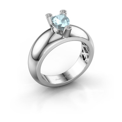 Ring Cornelia Pear 925 silver aquamarine 7x5 mm