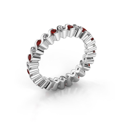 Stackable ring Faye 925 silver garnet 2 mm