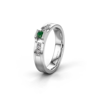 Trouwring WH2110L14A 925 zilver smaragd ±4x1.7 mm