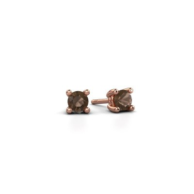 Picture of Stud earrings Sam 375 rose gold smokey quartz 4 mm