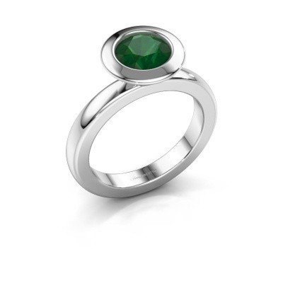 Stacking ring Trudy Round 585 white gold emerald 7 mm