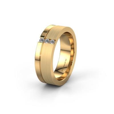 Wedding ring WH0327L16B 585 gold diamond ±0.24x0.08 in