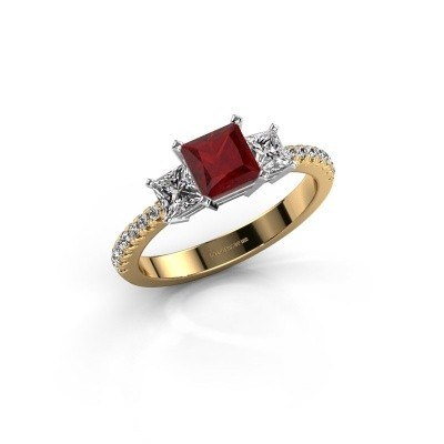 Verlovingsring Dorla 585 goud robijn 5 mm