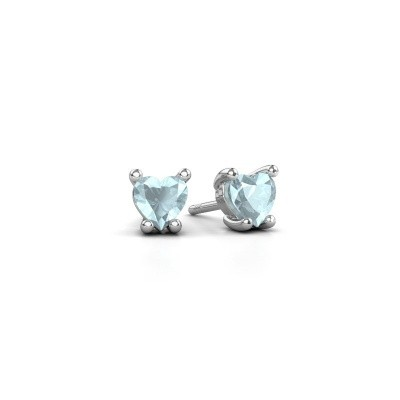 Picture of Earrings Sam Heart 925 silver aquamarine 5 mm