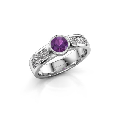 Engagement ring Ise 3 585 white gold amethyst 4.7 mm