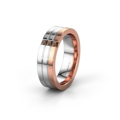 Wedding ring WH0428L16BP 585 rose gold smokey quartz ±0.24x0.08 in