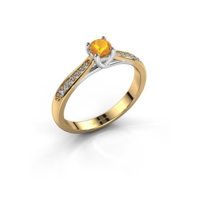 Photo de Bague de fiançailles Mia 2 585 or jaune citrine 4.2 mm