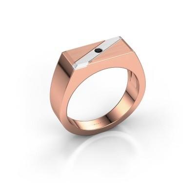 Men's ring Dree 3 585 rose gold black diamond 0.036 crt