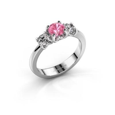 Foto van Verlovingsring Detra 585 witgoud roze saffier 5 mm