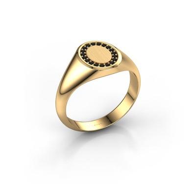 Foto van Zegelring Rosy Oval 1 585 goud zwarte diamant 0.009 crt