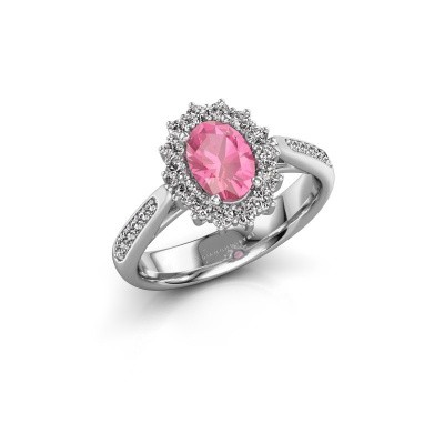 Verlovingsring Margien 2 585 witgoud roze saffier 7x5 mm