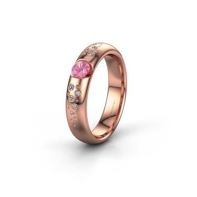 Trouwring WH2104L34A 375 rosé goud roze saffier ±4x1.7 mm
