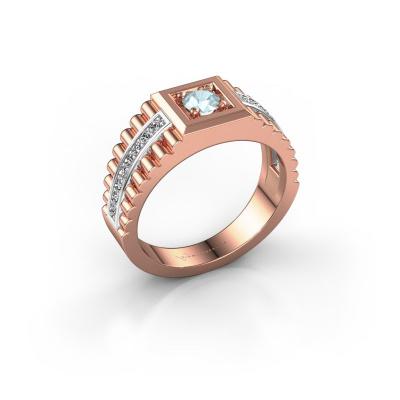 Foto van Heren ring Maikel 585 rosé goud aquamarijn 4.2 mm
