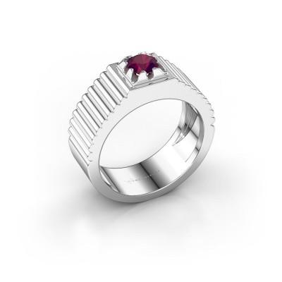 Foto van Pink ring Elias 585 witgoud rhodoliet 5 mm