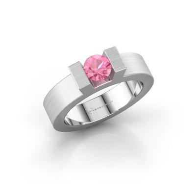 Foto van Ring Leena 1 950 platina roze saffier 5 mm