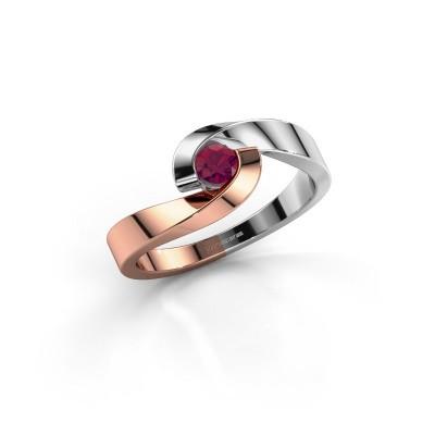 Foto van Verlovingsring Sheryl 585 rosé goud rhodoliet 3.7 mm