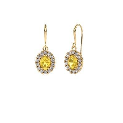 Oorhangers Jorinda 1 585 goud gele saffier 7x5 mm