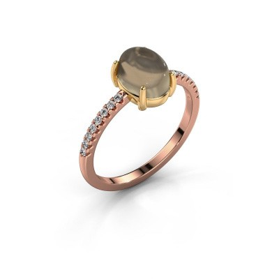 Ring Becky 585 rosé goud rookkwarts 8x6 mm